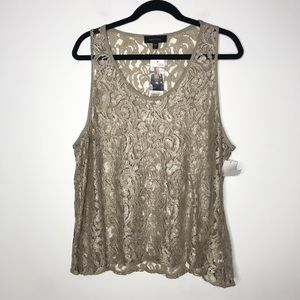 Karen Kane Wild Card Lace Tank Top Green NEW